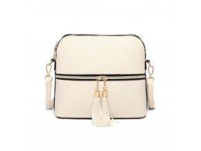 Elegantní kabelka přes rameno crossbody Miss Lulu LB1938 BK béžová ModexaStyl (2)