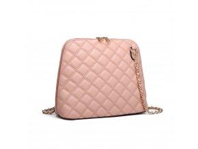 Elegantní prošívaná crossbody kabelka přes rameno Miss Lulu 6920 růžová ModexaStyl (3)