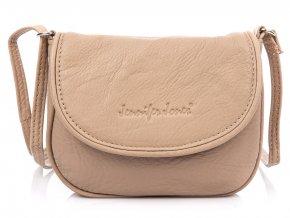 Malá kožená crossbody kabelka přes rameno Jennifer Jones 6210 béžová ModexaStyl (2)