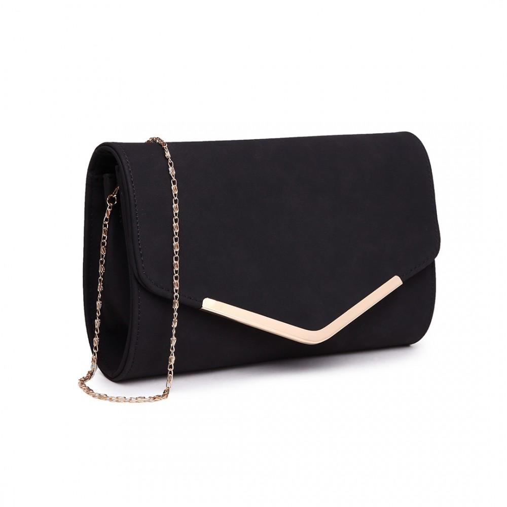 Elegantní večerní kožená kabelka psaníčko LH1756 - černá