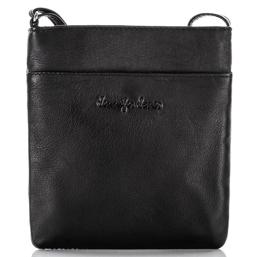 Kožená kabelka přes rameno - černá