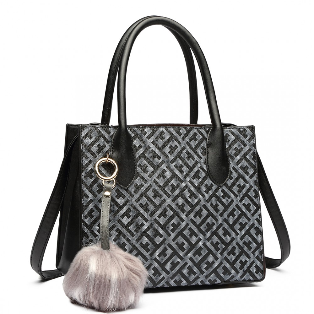 Dámská kabelka do ruky a přes rameno z kolekce Miss Lulu - černo-šedá