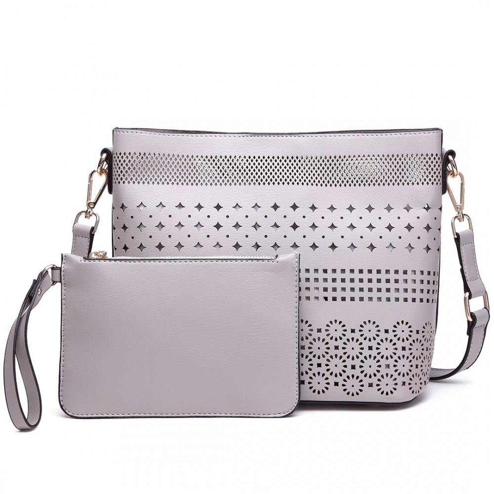 Miss Lulu SET dámská kabelka šedá