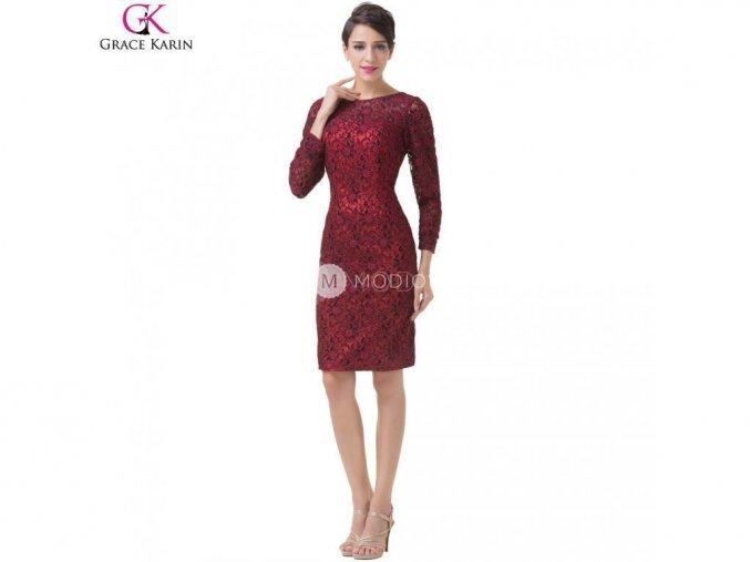 GRACE KARIN Krajkové šaty krátké červené-černé 6278