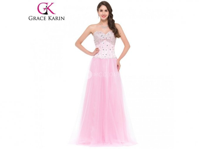 GRACE KARIN Společenské šaty dlouhé růžové 3519