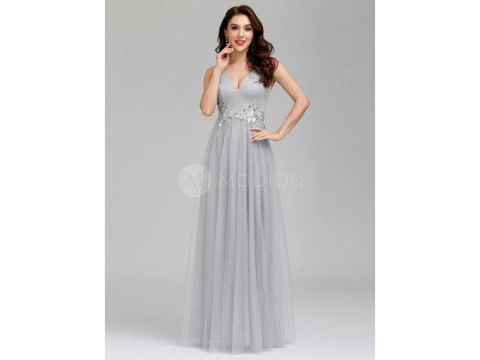Ever Pretty Společenské šaty dlouhé šedé EP00789GY