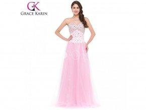 GRACE KARIN Společenské šaty dlouhé růžové CL3519