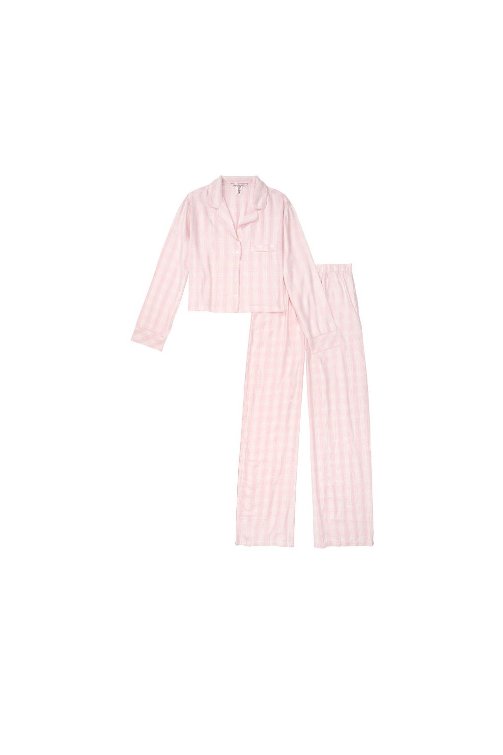 Victoria's Secret pyžamo Flannel Cropped / Pink Mini Plaid