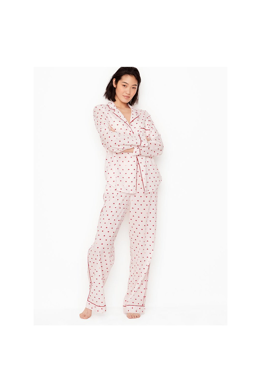 VICTORIA'S SECRET pyžamo dlouhé Cotton Short PJ Set / Pop Heart Coconut