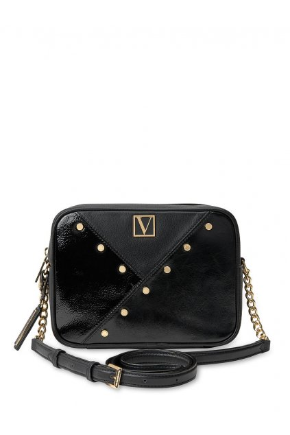 Victoria's Secret Top Zip Crossbody / Mixed Stud Black Mixed Stud