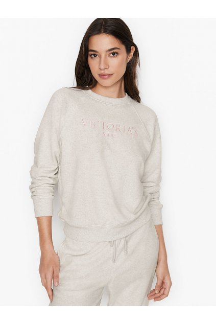 Victoria's Secret mikina bez kapuce Fleece crewneck / Snow Heather Graphic
