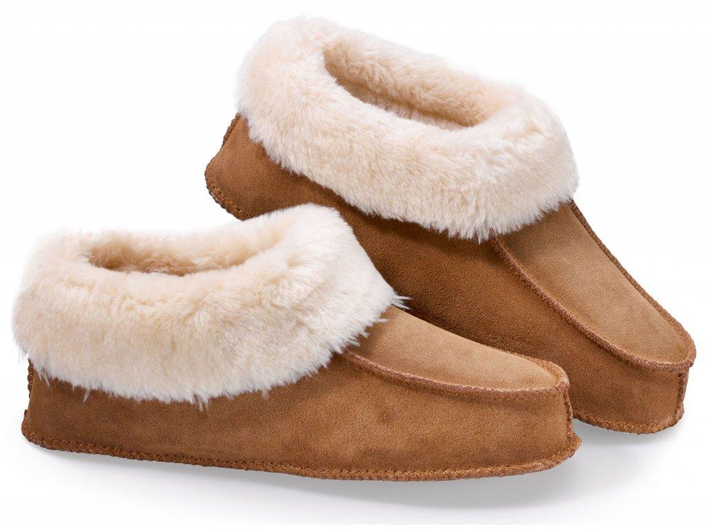 Luxusní hřejivé papuče z pravé kůže