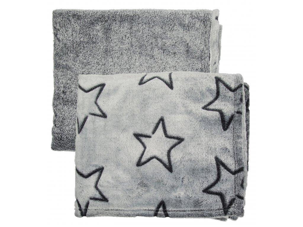 Deka Comfort hvězdy šedá 130 x 160 cm