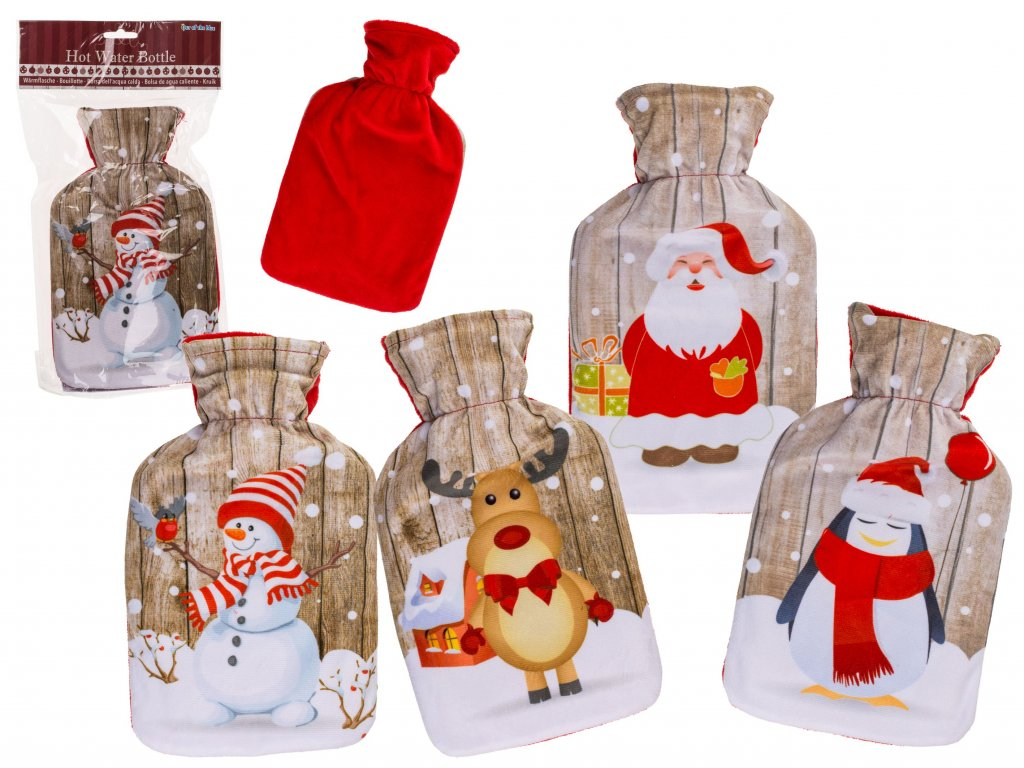 Termofor s fleecovým obalem Vánoce 1l
