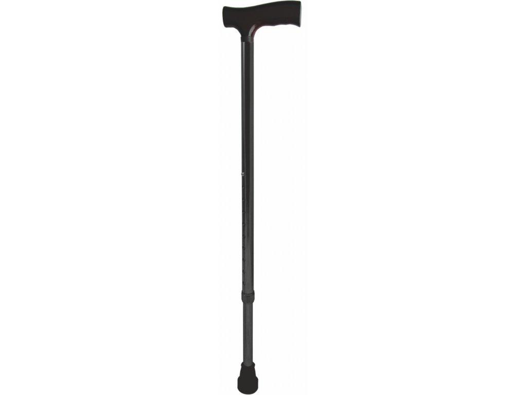 Vycházková nastavitelná hůl s komfortní rukojetí, černá