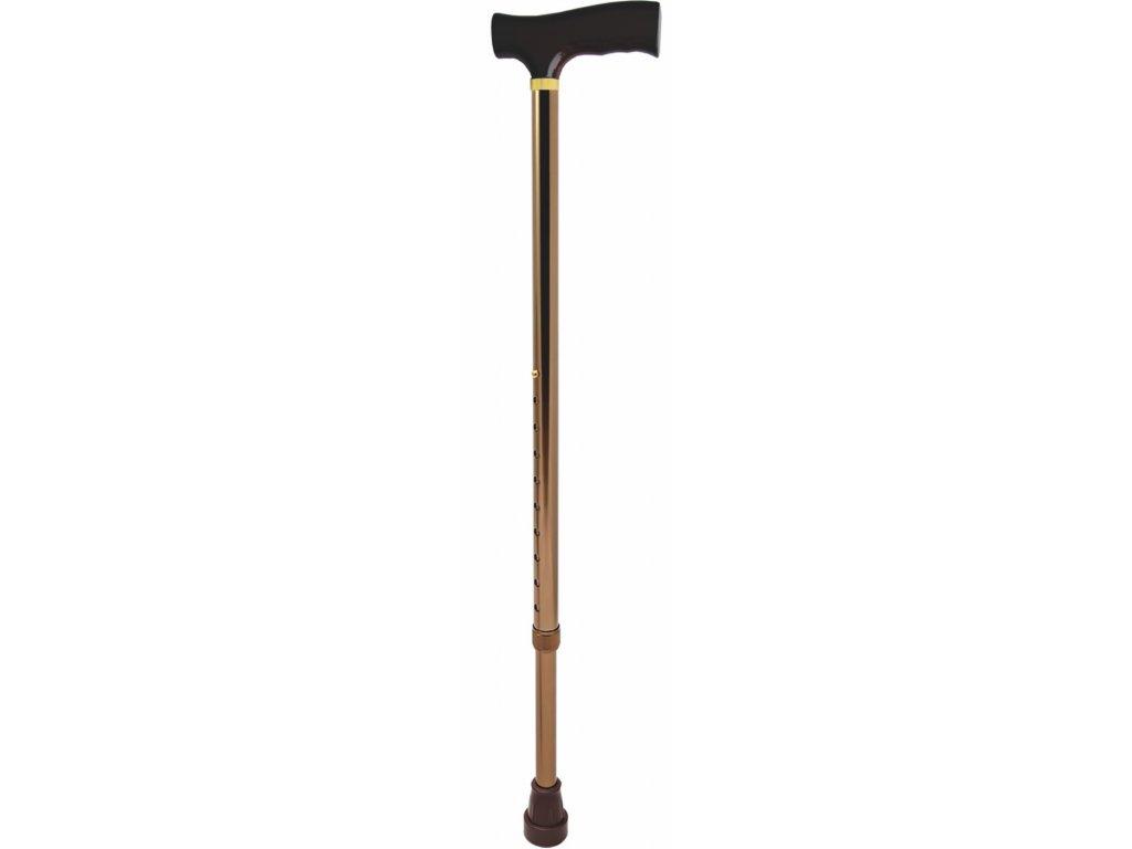 Vycházková nastavitelná hůl s komfortní rukojetí, bronzová