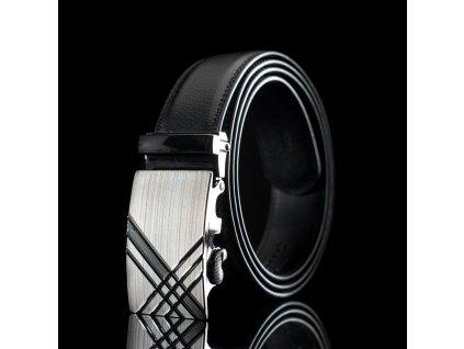 Pánský kožený pásek s kovovou přezkou KZ006