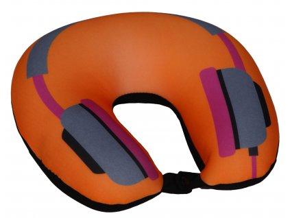 Cestovní polštář podkova oranžová - sluchátka
