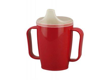 Hrnek s pítkem se dvěma víčky 250 ml, červený