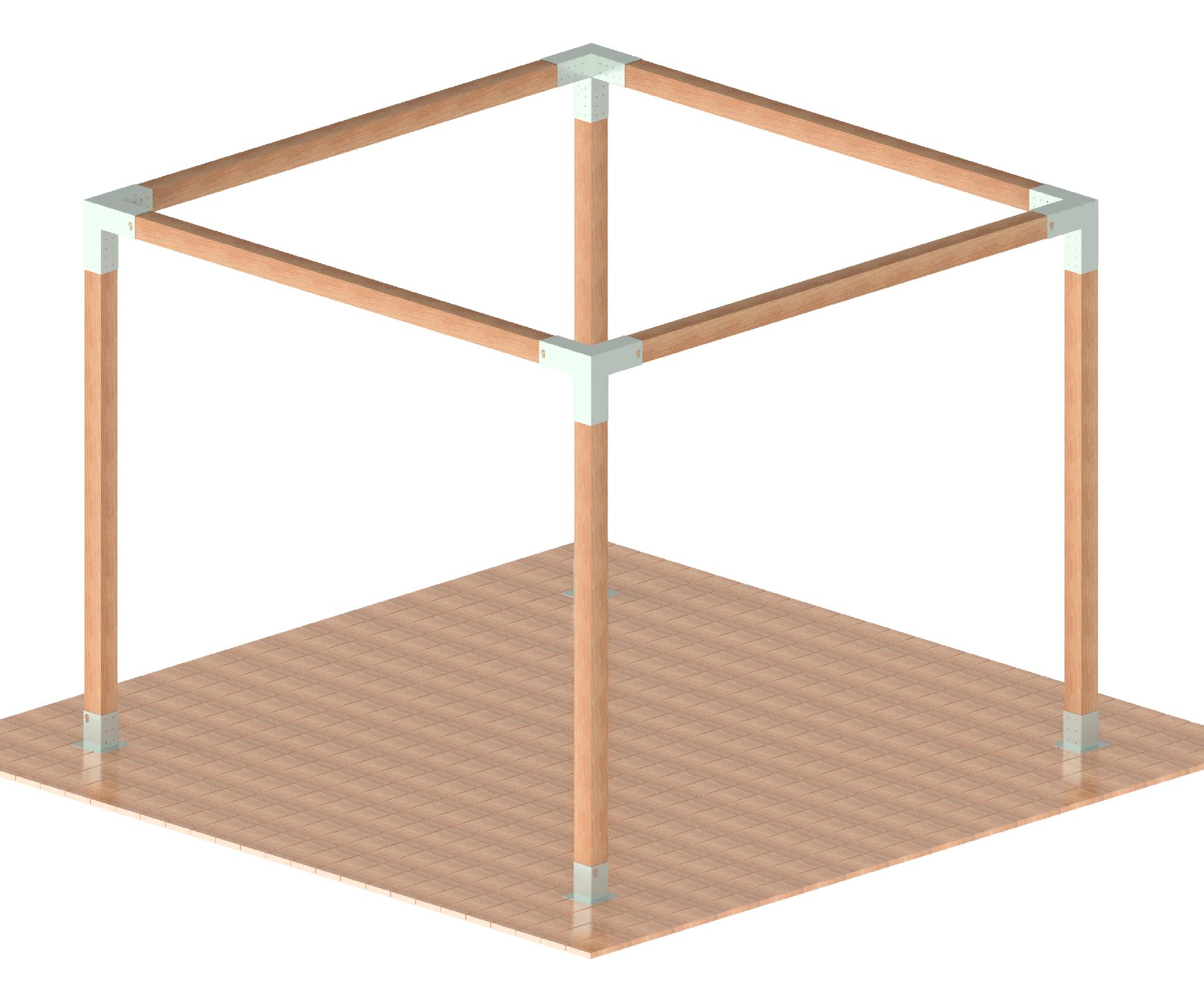 Pergola kovová, TYP: MEDIUM_01, rozměr: 3x3m-4x4m, výrobce: FYSCON POVRCHOVÁ ÚPRAVA: Galvanický zinek
