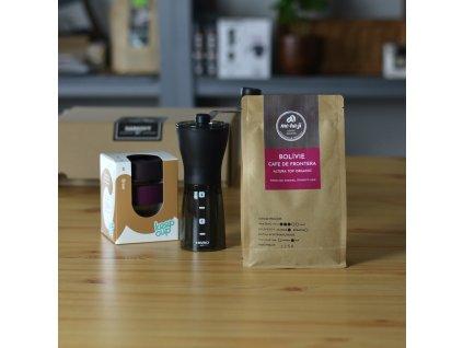 Dárkový set - Hario mlýnek + Keepcup + káva