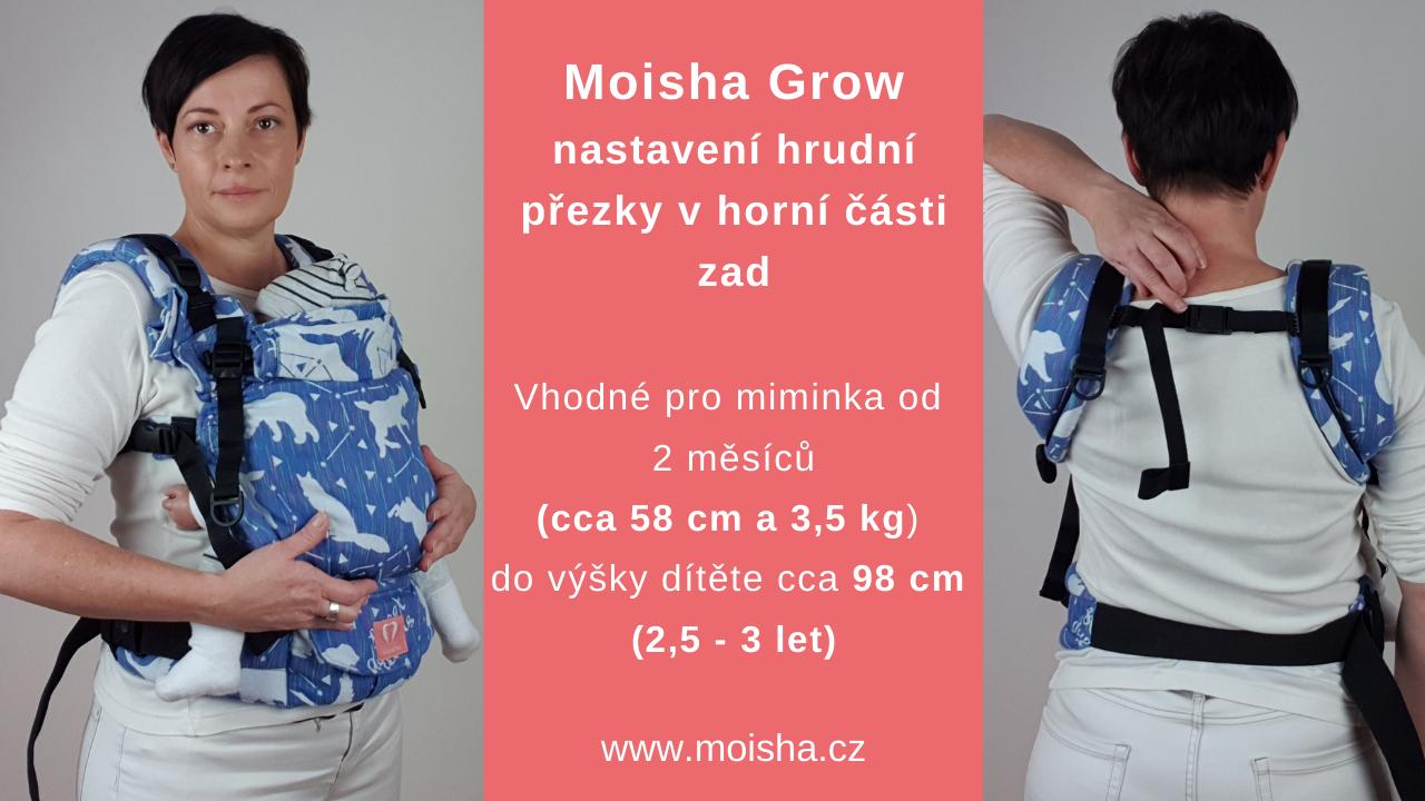 Moisha Grow - nastavení hrudní přezky v horní části zad