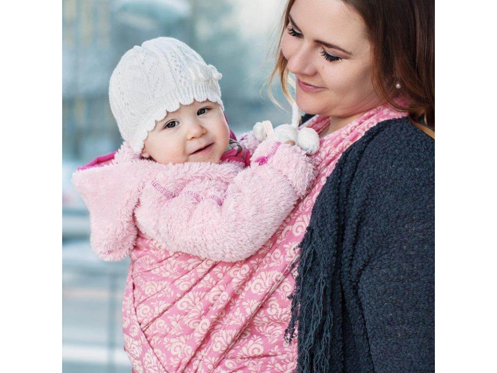 Šátek na nošení dětí Moisha Filigrán Rosé