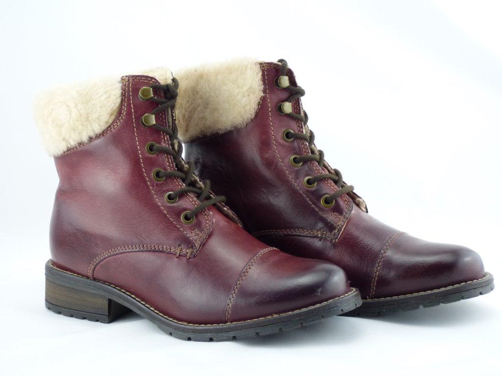 Kožené členkové zimné topánky Klondike bordové - MojaKabelka.sk b1a7632761e