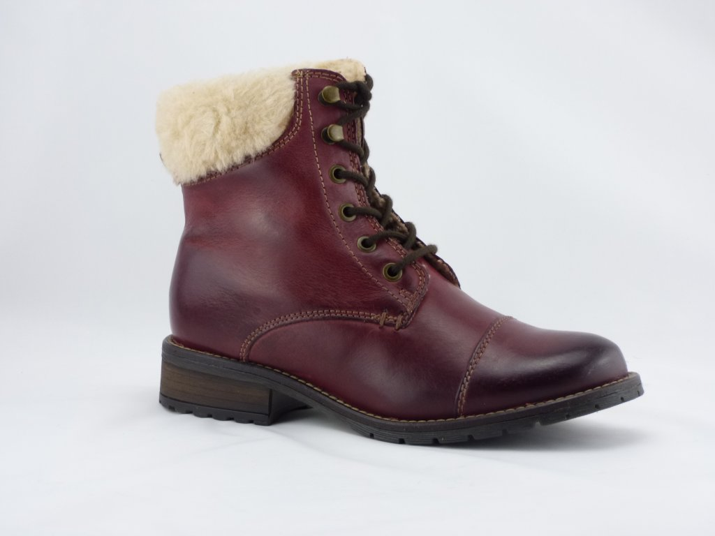 a68a81369 Kožené členkové zimné topánky Klondike bordové 727265 - MojaKabelka.sk