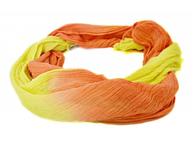 Šatka -šál v žlto-oranžovej dúhovej farbe