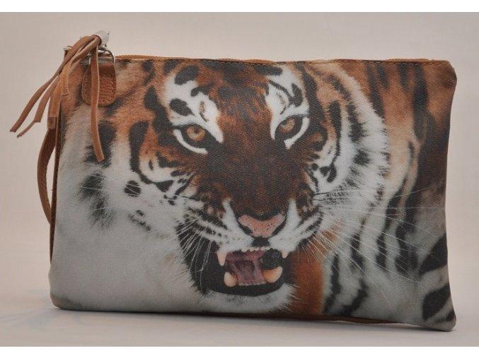 Kožená listová kabelka s aplikáciou tigra