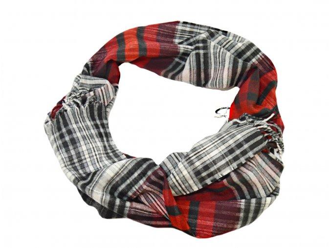 Károvaný červeno - biely šál