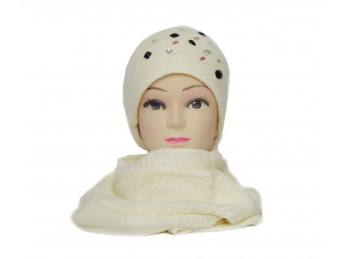 Súprava čiapka+šál v bielej farbe