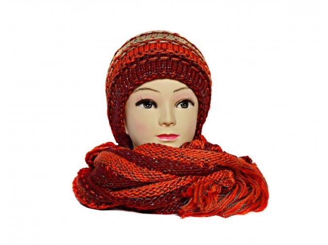 Súprava čiapka+šál v červeno-oranžovej kombinácii