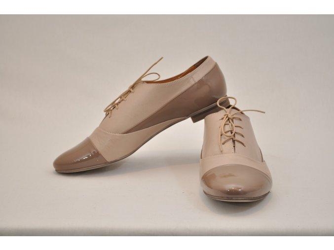 Béžové kožené OXFORD topánky