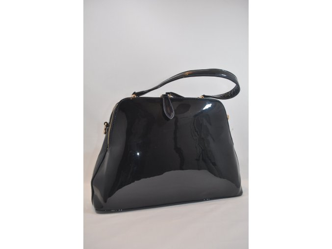 Tmavo-modrá lakovaná kabelka