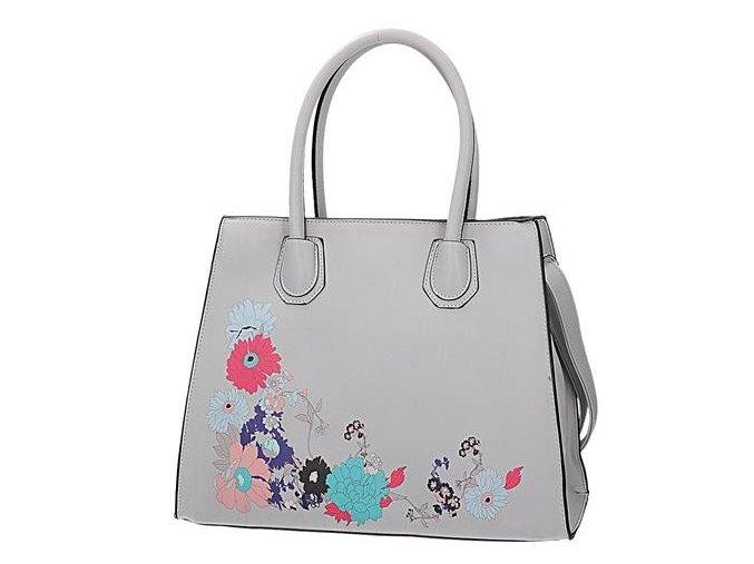 Luxusná dámska kabelka šedá s kvetom
