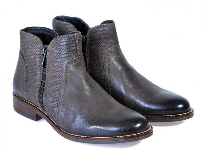 Kožené členkové topánky KLONDIKE hnedo šedá