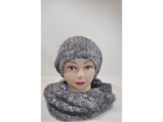 Sivá súprava čiapka + šál