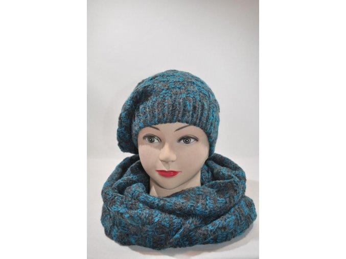 Modročierna súprava čiapka + šál