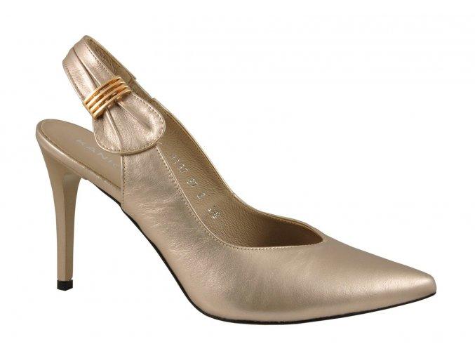 Luxusné zlaté kožené sandálky KANIOWSKI K-0137