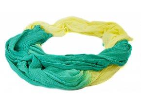 Šatka -šál v žlto-zelenej dúhovej farbe