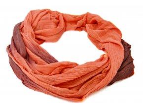 Šatka- šál v oranžovo-hnedej dúhovej farbe