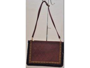 Listová kabelka v bordovo-metalízovej farbe