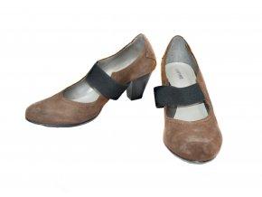 Celokožené pohodlné topánočky v hnedej farbe