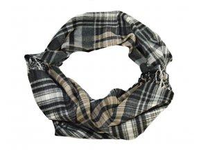 Károvaný čierno - hnedý šál