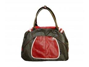 Červeno- olivová športová taška