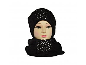 Súprava čiapka+šál v čiernej farbe