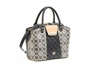 Elegantná kabelka s čierno-bielym vzorom VERDE 16-5668