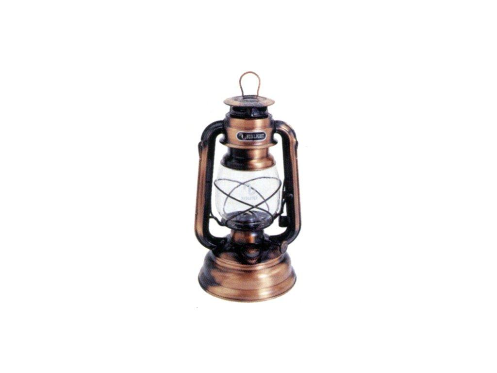 Vozová lampa 25cm měď antik